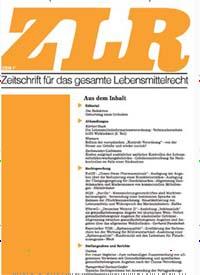 Cover: Zeitschrift für das gesamte Lebensmittelrecht (ZLR)