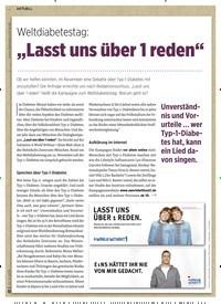 """Titelbild der Ausgabe 11/2019 von Weltdiabetestag: """"Lasst uns über 1 reden"""". Zeitschriften als Abo oder epaper bei United Kiosk online kaufen."""