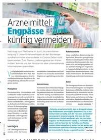 Titelbild der Ausgabe 7/2020 von Arzneimittel: Engpässe künftig vermeiden. Zeitschriften als Abo oder epaper bei United Kiosk online kaufen.