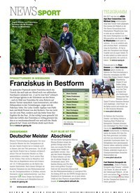 Titelbild der Ausgabe 71/2019 von NEWSSPORT: PFINGSTTURNIER IN WIESBADEN Franziskus in Bestform. Zeitschriften als Abo oder epaper bei United Kiosk online kaufen.