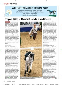 Titelbild der Ausgabe 70/2018 von WELTREITERSPIELE TRYON 2018: Tryon 2018 – Deutschlands Kandidaten. Zeitschriften als Abo oder epaper bei United Kiosk online kaufen.