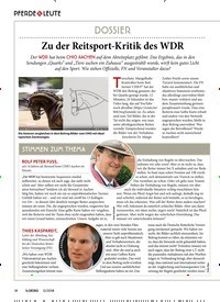 Titelbild der Ausgabe 120/2018 von PFERDE & LEUTE: DOSSIER: Zu der Reitsport-Kritik des WDR. Zeitschriften als Abo oder epaper bei United Kiosk online kaufen.