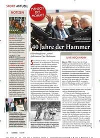 Titelbild der Ausgabe 110/2019 von MENSCH DES MONATS: 40 Jahre der Hammer. Zeitschriften als Abo oder epaper bei United Kiosk online kaufen.