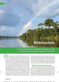 Titelbild der Ausgabe 4/2019 von Wildnisschutz ist Weltbehütung: Dr. Christof Schenck und Manuel Schweiger von der Zoologischen Gesellschaft Frankfurt im Interview. Zeitschriften als Abo oder epaper bei United Kiosk online kaufen.
