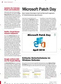 Titelbild der Ausgabe 6/2018 von Sicherheit: Microsoft Patch Day. Zeitschriften als Abo oder epaper bei United Kiosk online kaufen.