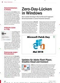 Titelbild der Ausgabe 7/2018 von Sicherheit: Zero-Day-Lücken in Windows. Zeitschriften als Abo oder epaper bei United Kiosk online kaufen.