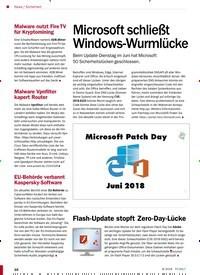 Titelbild der Ausgabe 8/2018 von Sicherheit: Microsoft schließt Windows-Wurmlücke. Zeitschriften als Abo oder epaper bei United Kiosk online kaufen.