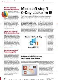 Titelbild der Ausgabe 10/2018 von Sicherheit: Microsoft stopft 0-Day-Lücke im IE. Zeitschriften als Abo oder epaper bei United Kiosk online kaufen.