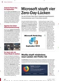 Titelbild der Ausgabe 11/2018 von Sicherheit: Microsoft stopft vier Zero-Day-Lücken. Zeitschriften als Abo oder epaper bei United Kiosk online kaufen.