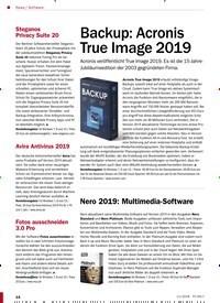 Titelbild der Ausgabe 11/2018 von Software: Backup: Acronis True Image 2019. Zeitschriften als Abo oder epaper bei United Kiosk online kaufen.