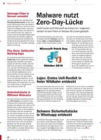 Titelbild der Ausgabe 12/2018 von Sicherheit: Malware nutzt Zero-Day-Lücke. Zeitschriften als Abo oder epaper bei United Kiosk online kaufen.