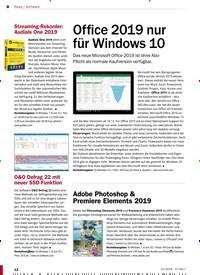 Titelbild der Ausgabe 12/2018 von Office 2019 nur für Windows 10. Zeitschriften als Abo oder epaper bei United Kiosk online kaufen.