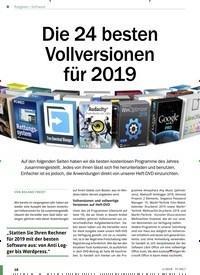 Titelbild der Ausgabe 1/2019 von Software: Die 24 besten Vollversionen für 2019. Zeitschriften als Abo oder epaper bei United Kiosk online kaufen.