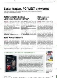 Titelbild der Ausgabe 2/2019 von Leserforum: Leser fragen, PC-WELT antwortet. Zeitschriften als Abo oder epaper bei United Kiosk online kaufen.
