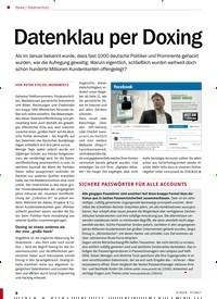 Titelbild der Ausgabe 3/2019 von Datenschutz: Datenklau per Doxing. Zeitschriften als Abo oder epaper bei United Kiosk online kaufen.