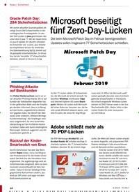 Titelbild der Ausgabe 4/2019 von Sicherheit: Microsoft beseitigt fünf Zero-Day-Lücken. Zeitschriften als Abo oder epaper bei United Kiosk online kaufen.