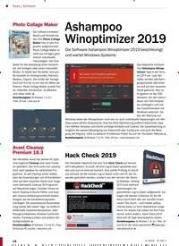 Titelbild der Ausgabe 4/2019 von Software: Ashampoo Winoptimizer 2019. Zeitschriften als Abo oder epaper bei United Kiosk online kaufen.