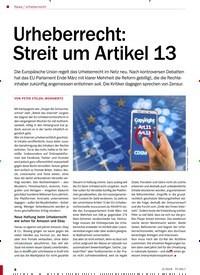 Titelbild der Ausgabe 5/2019 von Urheberrecht: Urheberrecht: Streit um Artikel 13. Zeitschriften als Abo oder epaper bei United Kiosk online kaufen.