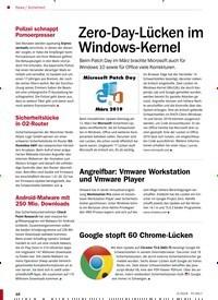 Titelbild der Ausgabe 5/2019 von Sicherheit: Zero-Day-Lücken im Windows-Kernel. Zeitschriften als Abo oder epaper bei United Kiosk online kaufen.