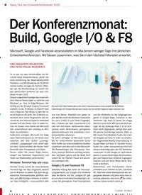 Titelbild der Ausgabe 7/2019 von Der Konferenzmonat: Build, Google I/O & F8. Zeitschriften als Abo oder epaper bei United Kiosk online kaufen.