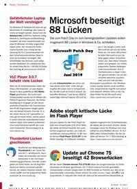 Titelbild der Ausgabe 8/2019 von Sicherheit: Microsoft beseitigt 88 Lücken. Zeitschriften als Abo oder epaper bei United Kiosk online kaufen.
