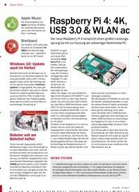 Titelbild der Ausgabe 9/2019 von Raspberry Pi 4: 4K, USB 3.0 & WLAN ac. Zeitschriften als Abo oder epaper bei United Kiosk online kaufen.
