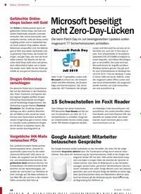 Titelbild der Ausgabe 9/2019 von Sicherheit: Microsoft beseitigt acht Zero-Day-Lücken. Zeitschriften als Abo oder epaper bei United Kiosk online kaufen.