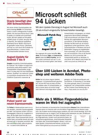 Titelbild der Ausgabe 10/2019 von Sicherheit: Microsoft schließt 94 Lücken. Zeitschriften als Abo oder epaper bei United Kiosk online kaufen.