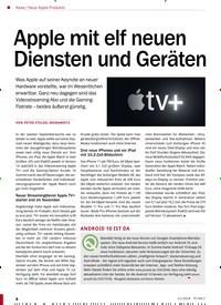 Titelbild der Ausgabe 11/2019 von Neue Apple-Produkte: Apple mit elf neuen Diensten und Geräten. Zeitschriften als Abo oder epaper bei United Kiosk online kaufen.