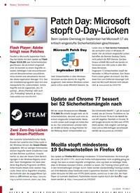 Titelbild der Ausgabe 11/2019 von Sicherheit: Patch Day: Microsoft stopft 0-Day-Lücken. Zeitschriften als Abo oder epaper bei United Kiosk online kaufen.