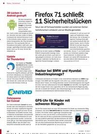 Titelbild der Ausgabe 2/2020 von Sicherheit: Firefox 71 schließt 11 Sicherheitslücken. Zeitschriften als Abo oder epaper bei United Kiosk online kaufen.