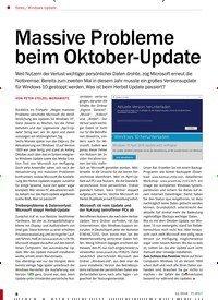 Titelbild der Ausgabe 12/2018 von Windows-Update: Massive Probleme beim Oktober-Update. Zeitschriften als Abo oder epaper bei United Kiosk online kaufen.