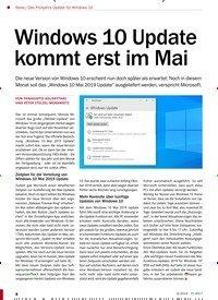 Titelbild der Ausgabe 6/2019 von News / Das Frühjahrs-Update für Windows 10: Windows 10 Update kommt erst im Mai. Zeitschriften als Abo oder epaper bei United Kiosk online kaufen.