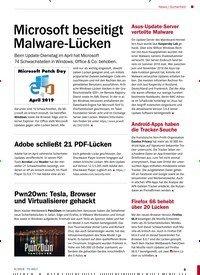 Titelbild der Ausgabe 6/2019 von News / Sicherheit: Microsoft beseitigt Malware-Lücken. Zeitschriften als Abo oder epaper bei United Kiosk online kaufen.