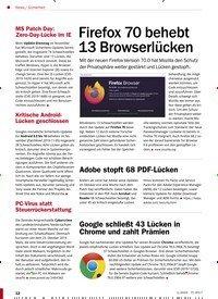 Titelbild der Ausgabe 1/2020 von Sicherheit: Firefox 70 behebt 13 Browserlücken. Zeitschriften als Abo oder epaper bei United Kiosk online kaufen.