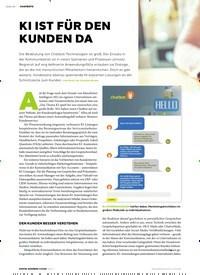 Titelbild der Ausgabe 2/2019 von Seite 10: CHATBOTS: KI IST FÜR DEN KUNDEN DA. Zeitschriften als Abo oder epaper bei United Kiosk online kaufen.