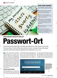Titelbild der Ausgabe 8/2018 von SIEBEN PASSWORT-MANAGER IM VERGLEICH: Passwort-Ort. Zeitschriften als Abo oder epaper bei United Kiosk online kaufen.