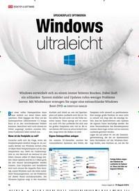 Titelbild der Ausgabe 9/2018 von SPEICHERPLATZ OPTIMIEREN: Windows ultraleicht. Zeitschriften als Abo oder epaper bei United Kiosk online kaufen.