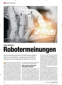 Titelbild der Ausgabe 9/2018 von SOCIAL MEDIA BOTS: Robotermeinungen. Zeitschriften als Abo oder epaper bei United Kiosk online kaufen.