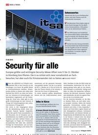 Titelbild der Ausgabe 10/2018 von IT-SA 2018: Security für alle. Zeitschriften als Abo oder epaper bei United Kiosk online kaufen.