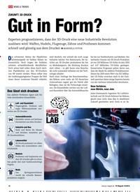 Titelbild der Ausgabe 10/2018 von ZUKUNFT: 3D-DRUCK: Gut in Form?. Zeitschriften als Abo oder epaper bei United Kiosk online kaufen.