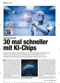 Titelbild der Ausgabe 11/2018 von KÜNSTLICHE INTELLIGENZ: 30 mal schneller mit KI-Chips. Zeitschriften als Abo oder epaper bei United Kiosk online kaufen.