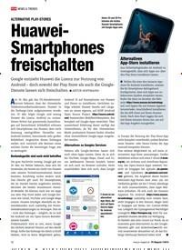 Titelbild der Ausgabe 7/2019 von ALTERNATIVE PLAY-STORES: Huawei-Smartphones freischalten. Zeitschriften als Abo oder epaper bei United Kiosk online kaufen.