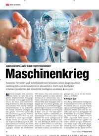 Titelbild der Ausgabe 7/2019 von KÜNSTLICHE INTELLIGENZ IN DER COMPUTERSICHERHEIT: Maschinenkrieg. Zeitschriften als Abo oder epaper bei United Kiosk online kaufen.