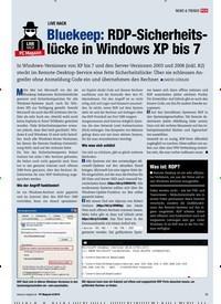Titelbild der Ausgabe 8/2019 von LIVE HACK: Bluekeep: RDP-Sicherheitslücke in Windows XP bis 7. Zeitschriften als Abo oder epaper bei United Kiosk online kaufen.