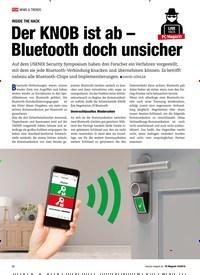 Titelbild der Ausgabe 10/2019 von INSIDE THE HACK: Der KNOB ist ab – Bluetooth doch unsicher. Zeitschriften als Abo oder epaper bei United Kiosk online kaufen.