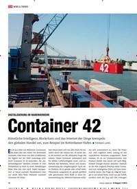 Titelbild der Ausgabe 11/2019 von DIGITALISIERUNG IM WARENVERKEHR: Container 42 Digitalisierung im Warenverkehr. Zeitschriften als Abo oder epaper bei United Kiosk online kaufen.