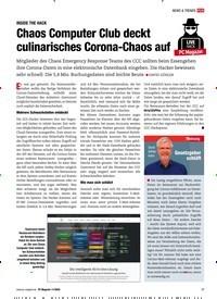 Titelbild der Ausgabe 11/2020 von INSIDE THE HACK: Chaos Computer Club deckt culinarisches Corona-Chaos auf. Zeitschriften als Abo oder epaper bei United Kiosk online kaufen.