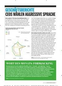 Titelbild der Ausgabe 4/2019 von GESCHÄFTSBERICHTE CEOS WÄHLEN AGGRESSIVE SPRACHE. Zeitschriften als Abo oder epaper bei United Kiosk online kaufen.