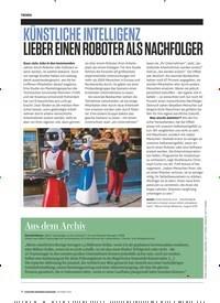 Titelbild der Ausgabe 10/2019 von KÜNSTLICHE INTELLIGENZ LIEBER EINEN ROBOTER ALS NACHFOLGER. Zeitschriften als Abo oder epaper bei United Kiosk online kaufen.